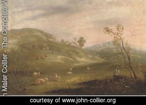 John Maler Collier - A shepherd and his flock on a hillside with cottages in the distance