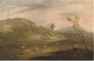 A shepherd and his flock on a hillside with cottages in the distance