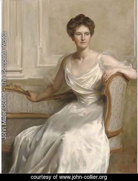 Portrait of Mary Frances Wilson, seated three-quarter-length, in a white dress, in an interior