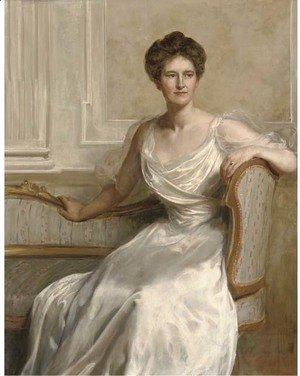 John Maler Collier - Portrait of Mary Frances Wilson, seated three-quarter-length, in a white dress, in an interior
